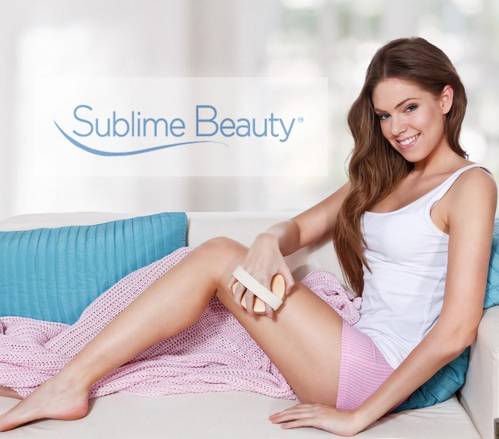 girl skin brushing and white logo Sublime Beauty